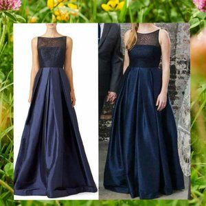 $990 MONIQUE LHUILLIER Navy Formal Ball Gown 2 XS